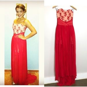 Designer Strapless Red Dress